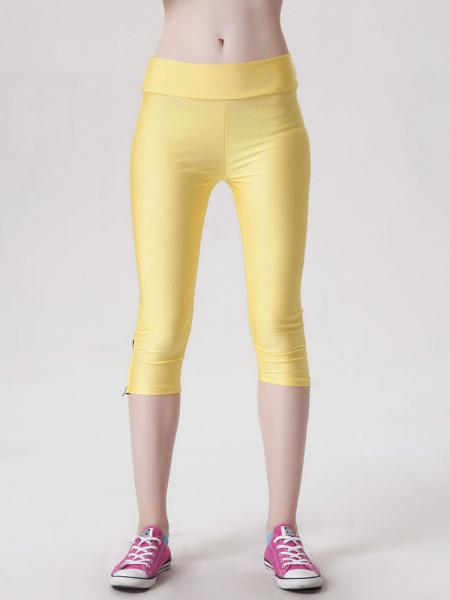 Yellow Womens Stretchy Fluorescent Side Zipper Mid Length Capri Leggings