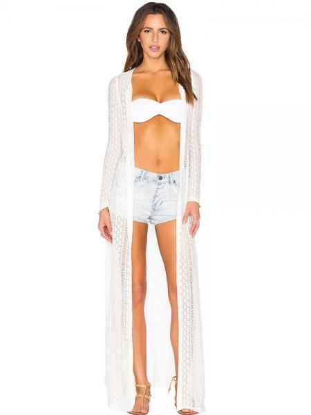 White Button-up Front Long Sleeved Boho Breeze Crochet Lace Maxi Length Beachwear