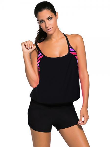 Black Contrast Print Inserts Sporty Racerback Bra Padding Tankini Top Women Online