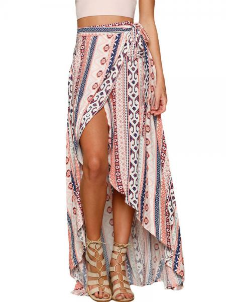 Pink Blue Ethnic Printed Wrap Style Asymmetric Lacing-up Maxi Beach Skirt Sarong