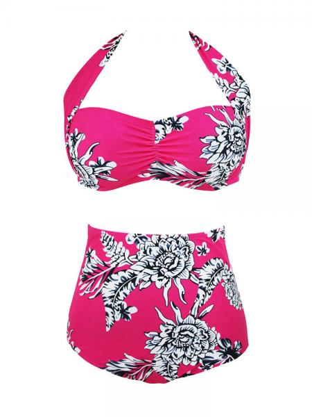 Rosy White Printed Halter Style Pushup Padded Ruched Bikini Top & High Waisted-waist Bottom