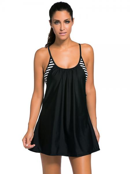 Black Layered Style Striped Padded Flowing Contrast Color Tankini Top for Women