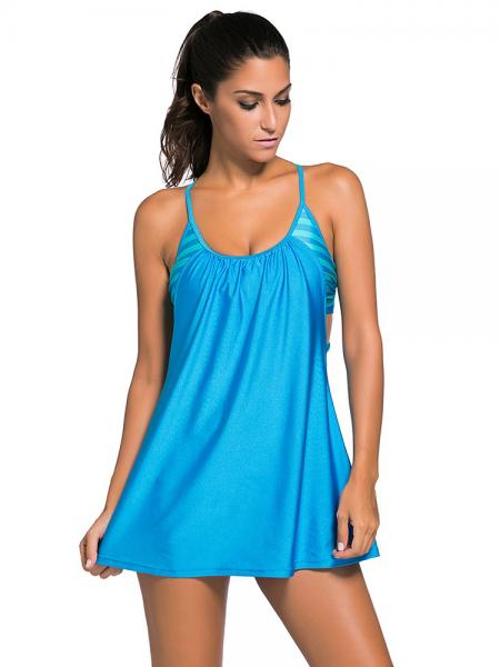 Blue Layered Style Striped Padded Flowing Contrast Color Tankini Top for Women