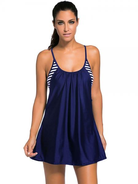 Navy Layered Style Striped Padded Flowing Contrast Color Tankini Top for Women