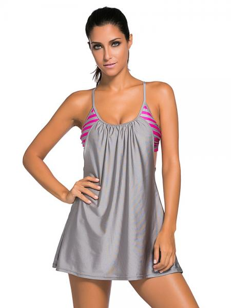 Gray Layered Style Striped Padded Flowing Contrast Color Tankini Top for Women