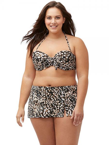 Leopard Leopard Printing Halter Bandeau Underwired & Padded Bikini Top with Skirt