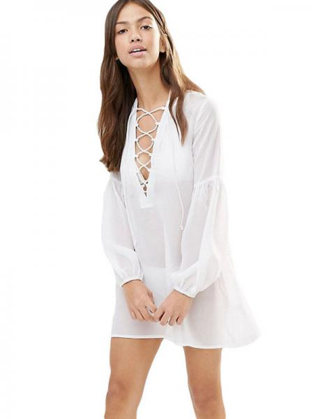 White Ruched Long Sleeves Lacing-up Neck See Through Sheer Bathing Suit Cover up