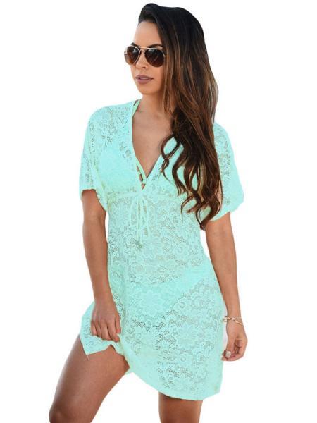Aqua See Through Floral Lace V-neck Short Sleeved High-waist Mini Beach Dress