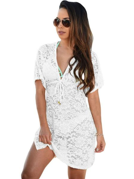 White See Through Floral Lace V-neck Short Sleeved High-waist Mini Beach Dress