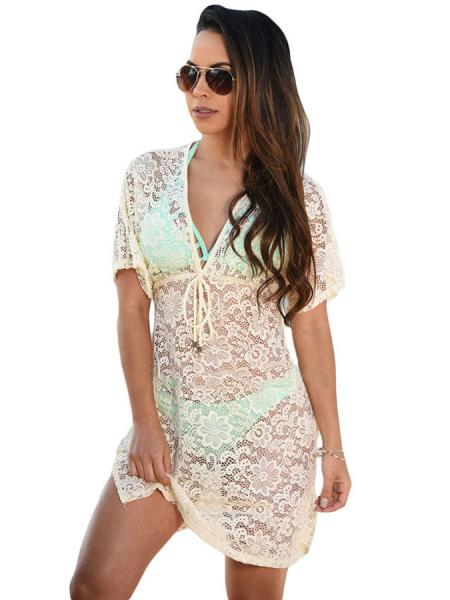 Yellow See Through Floral Lace V-neck Short Sleeved High-waist Mini Beach Dress