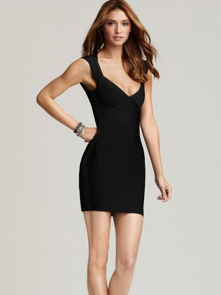 Black Shining Foil Panel Sleeveless Petit Celebrity Sexy Bodycon Bandage Dress