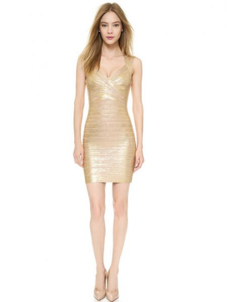 Gold Shining Foil Panel Sleeveless Petit Celebrity Sexy Bodycon Bandage Dress