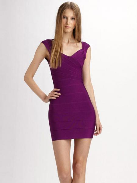 Purple Shining Foil Panel Sleeveless Petit Celebrity Sexy Bodycon Bandage Dress