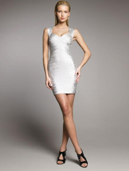 Silver Shining Foil Panel Sleeveless Petit Celebrity Sexy Bodycon Bandage Dress