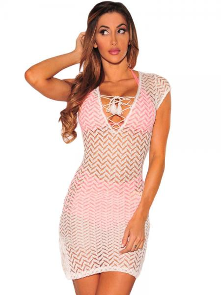 White Short Cap Sleeves Lace-up V-neck Slit Hem Sheer Mini Lace Coverup Dress