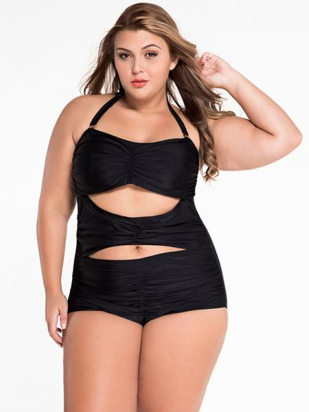 Black Sweetheart Neckline Cutout Ruched Halter Padded Plus Size One Piece Swimsuit