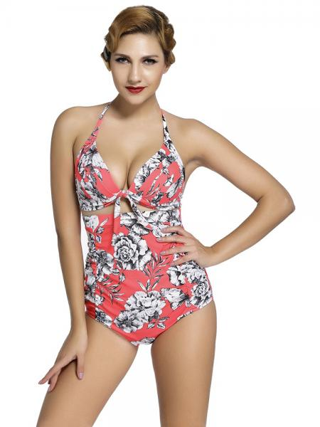 Rosy White Black Vintage Printing Halter Style Padded & High Waisted Bikini Set with Ruched