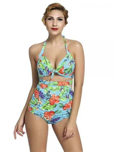 Wathet Green Rosy Vintage Printing Halter Style Padded & High Waisted Bikini Set with Ruched