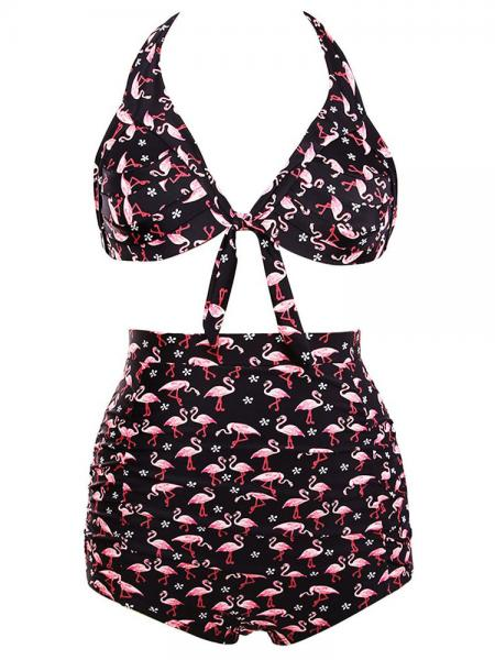 Black Pink Vintage Printing Halter Style Padded & High Waisted Bikini Set with Ruched