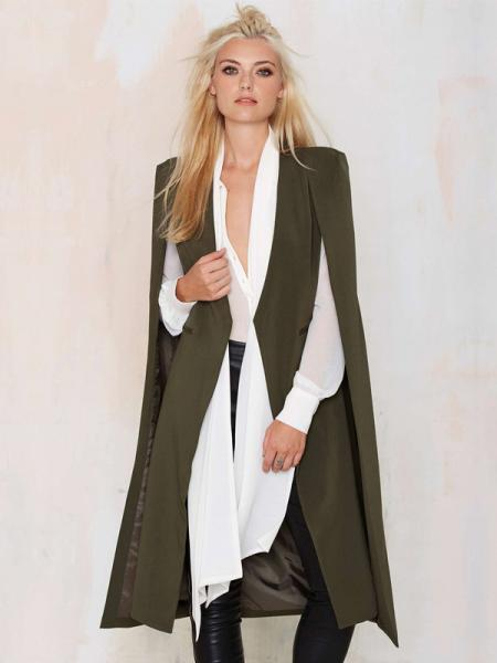 Olive Fashion Cloak Style Open Front Lined Long Women Trench Coat for Autumn