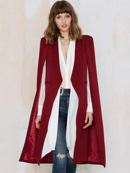 Red Fashion Cloak Style Open Front Lined Long Women Trench Coat for Autumn