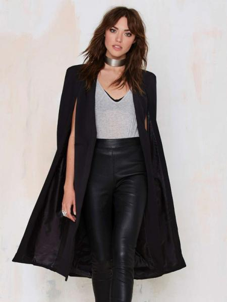 Black Fashion Cloak Style Open Front Lined Long Women Trench Coat for Autumn