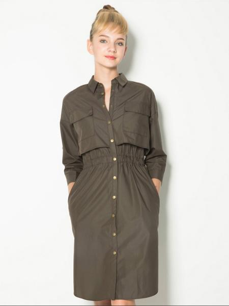 Olive Layered 3/4 Sleeves High-waisted Single Breasted Knee Length Trench Coat