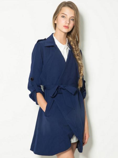 Navy Long Sleeves Waterfall Front Wrap Trench Coat for Women with Waistband