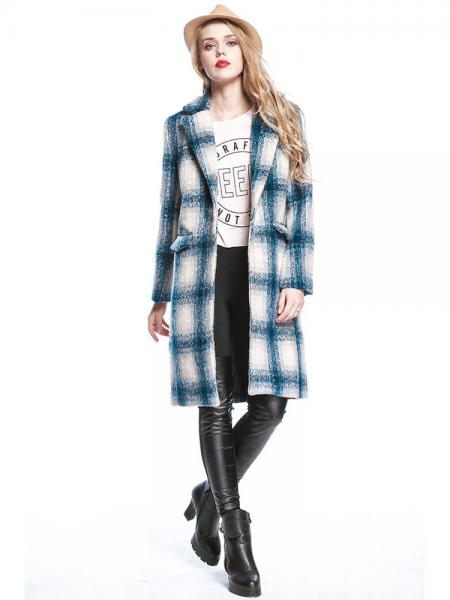 Blue White Vintage Plaid Single Button Knee-length Long Sleeves Wool Coat for Women