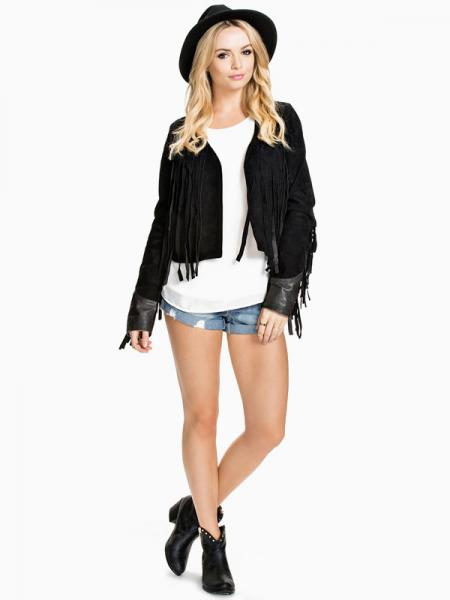 Black Chic PU Splicing Long Sleeves Short Women Faux Leather Jacket with Fringe