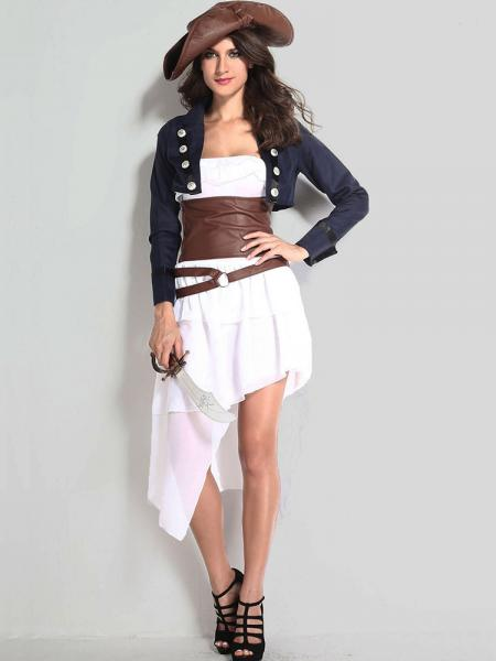 Navy Brown White Vilanya Female 4 Pieces Long Sleeve Colonial Pirate Easy Adult Halloween Costume