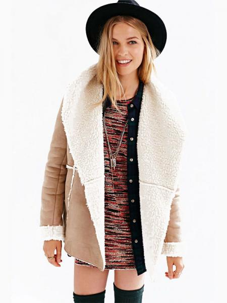 Khaki White Long Sleeves Open Front Large Lapel Woolen Lining Suede Jacket for Women