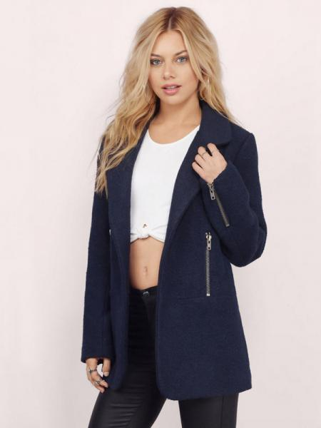 Navy Open Front Long Sleeves Turn-down Collar Wool Coat with Zipper Details