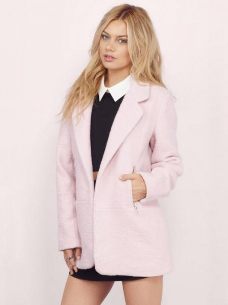 Pink Open Front Long Sleeves Turn-down Collar Wool Coat with Zipper Details