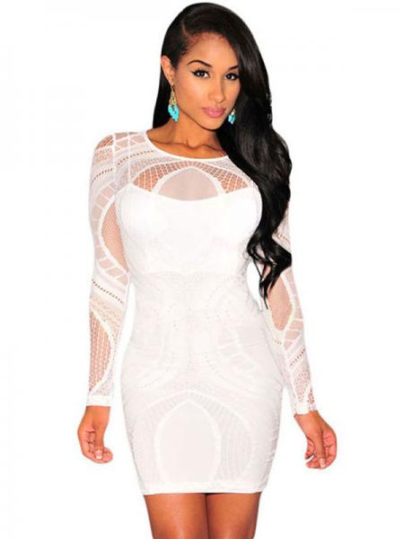 White Sexy High Waist Nude Illusion Long Sleeved Lace Hollow Out Bodycon Mini Dress Apricot