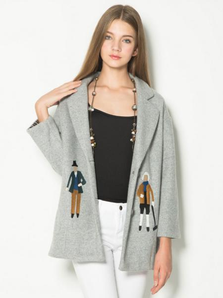Gray Two Buttons Single Breasted Closure Cartoon Embroidery Wool Coat Women
