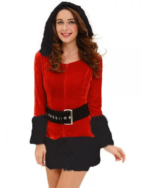 Red Black Three Pieces Long Sleeve Hooded Fluff Womens Christmas Day Outfits for Sale
