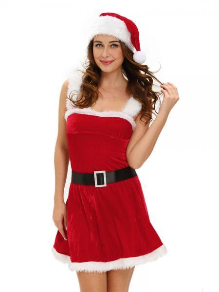 Red White Three Pieces Sleeveless Christmas Fluffy Velvet Mini Costume Dress Sale