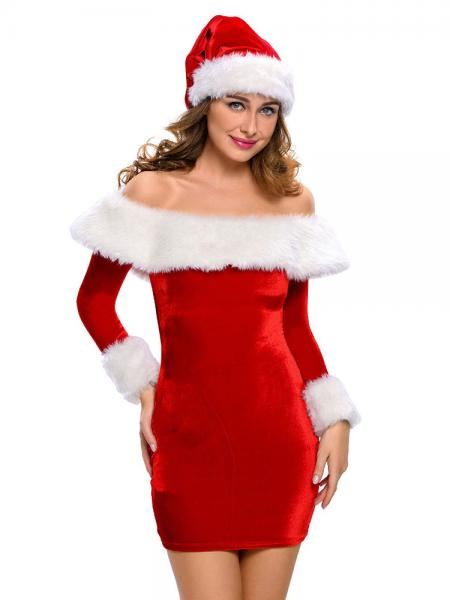 Red White Two Pieces Long Sleeves Off-the-shoulder Santa Costume Dress and Hat Set