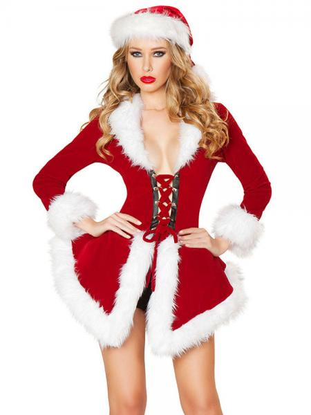 Red White Two Pieces Velvet Long Sleeves Deluxe Christmas Dress Coat Costume Women