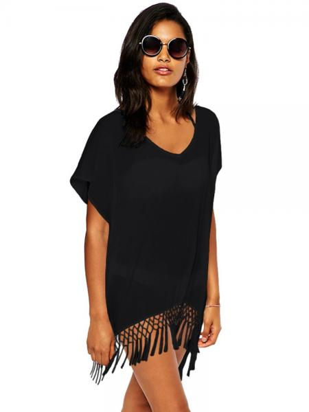3d7699fd56 ... Black Kimono Style Short Sleeves Kaftan Beach Wear with Crochet Fringe  Hemline Sale