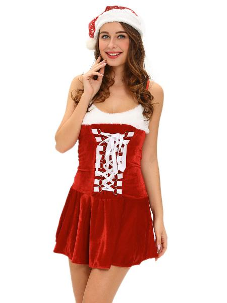 Red White 2 Pieces Sleeveless Buckles Draped Hem Christmas Santa Dress