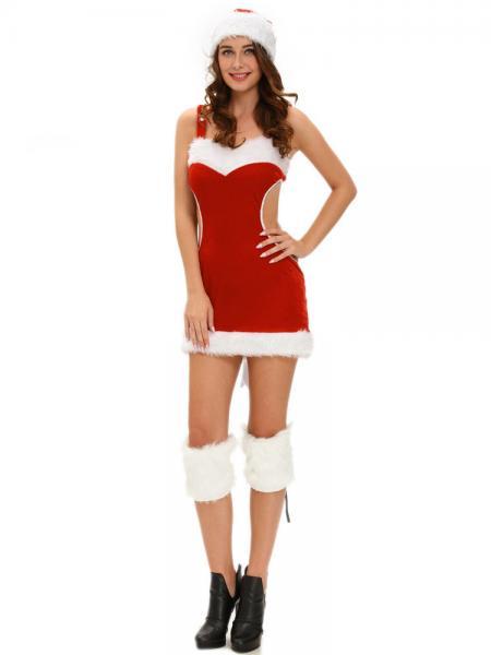 Red White 3 Pieces Cutout Back Faux Fur Trim Santa Claus Outfit for Women