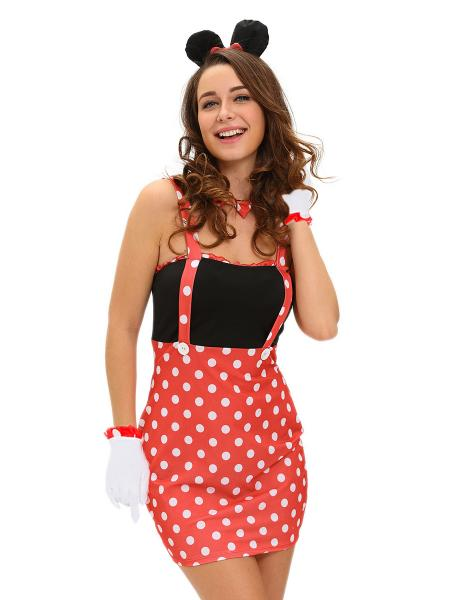 Red Black White 4 Pieces Sleeveless Polka Dots Cute Adult Minnie Costume Dress for Women