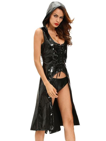 Black 2 Pieces Sexy Cutout Wetlooks Hooded Gothic Punk Costumes for Women