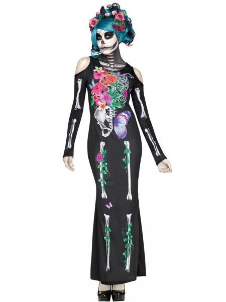 Black Gray Cold Shoulder Long Sleeves Halloween Maxi Skeleton Costume Bones Dress