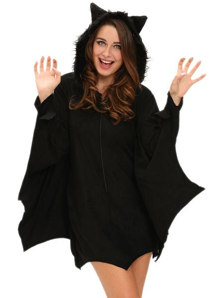 Black Long Scalloped Edging Trims Batwing Sleeves Hooded Women Bat Costumes