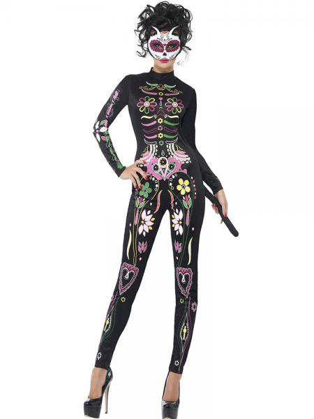 Black Long Sleeves Floral Sugar Skull Printing Adult Catwomen Party Costume