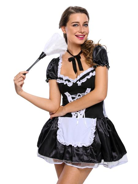 Black White 3 Pieces Short Sleeves Layered Late Nite Bubble Maid Costumes Skirt