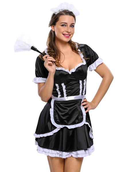 Black White 3 Pieces Short Sleeves Layered Sexy Flirty Maid Costumes for Women